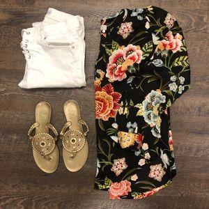 Floral keyhole blouse